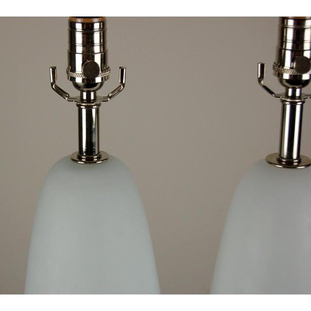 Vintage Murano Glass Capsule Table Lamps in Aqua White For Sale - Image 10 of 10