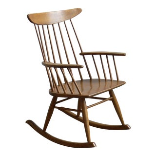 1950s Vintage Conant Ball Spindle Back Rocking Chair For Sale