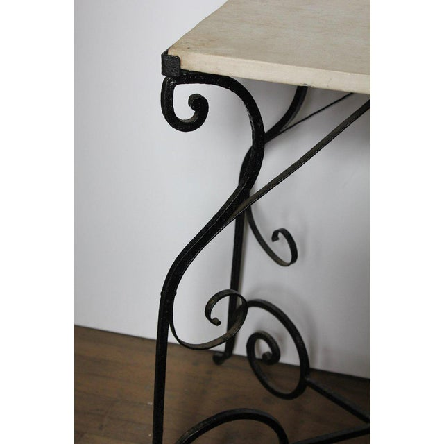 Traditional Early 20th Century Antique French Wrought Iron and Marble Table For Sale - Image 3 of 5
