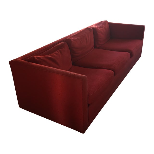 Mid-Century Red Sofa - Image 1 of 5