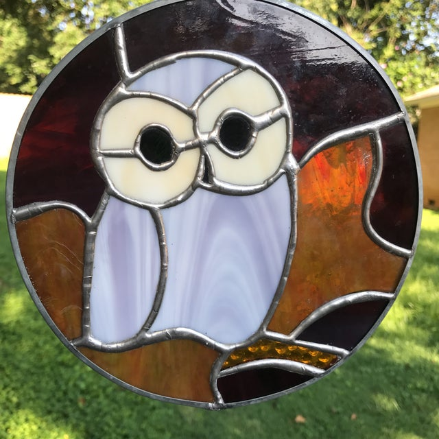 Orange Hanging Stained Glass Owl For Sale - Image 8 of 8