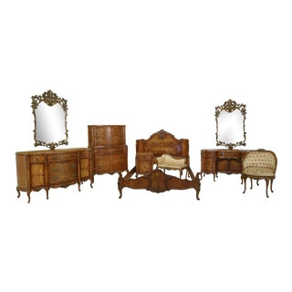 Vintage 1930s French Inlaid 9 Piece Satinwood Bedroom Set For Sale
