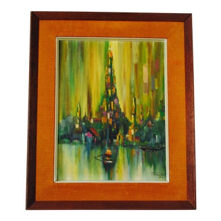 Modernist Cityscape Waterscape Painting Signed Dated 1968