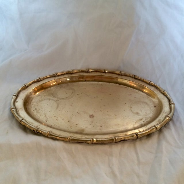 Small Faux Bamboo Trim Brass Tray - Image 2 of 6