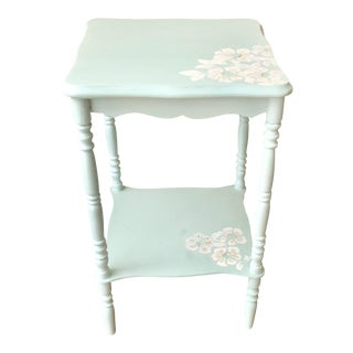 Hand Painted Mint Green Floral Side Table