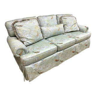 Chinoiserie Style Light Blue Floral Upholstered Sofa For Sale