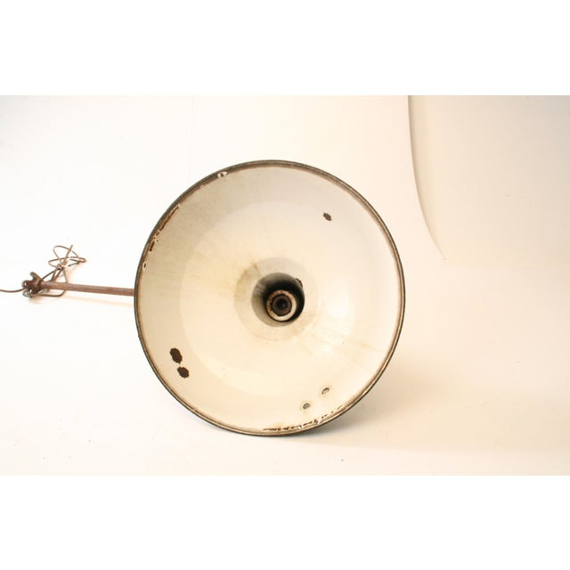Vintage Industrial Green Enamel Light Fixture with Wall Bracket For Sale - Image 6 of 11