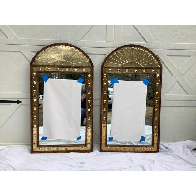 Pair of Sarreid Brass & Pine Mirrors, Italy For Sale - Image 11 of 11