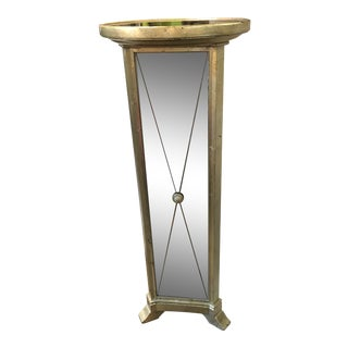 Hollywood Regency Triangular Mirrored Pedestal Stand For Sale