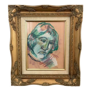 Vintage Portrait of a Man Signed Pastel Painting For Sale