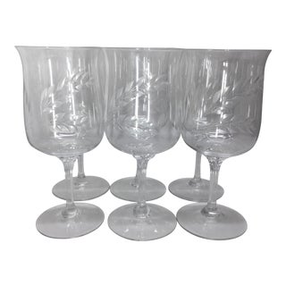 Lenox Wheat Crystal Wine/Water Goblets - Set of 6 For Sale