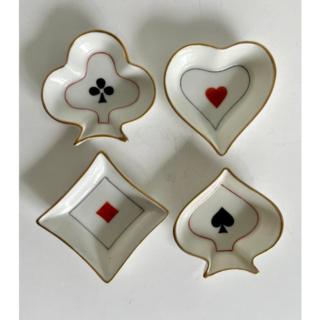 Mid 20th Century Limoges France Set of 4 Bridge Poker Suit Ashtrays For Sale - Image 5 of 5