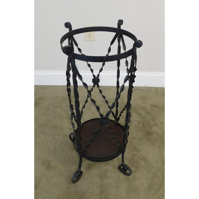 Arts & Crafts Aesthetic Antique Hand Wrought Iron Umbrella Stand For Sale - Image 3 of 13