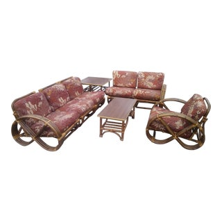 Vintage Mid Century Paul Frankl Style Pretzel Arm Rattan Bamboo Sofa - Set of 5 For Sale