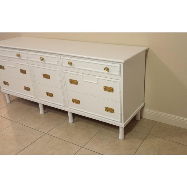 Faux Bamboo Ficks Reed High Gloss White Dresser For Sale - Image 6 of 8