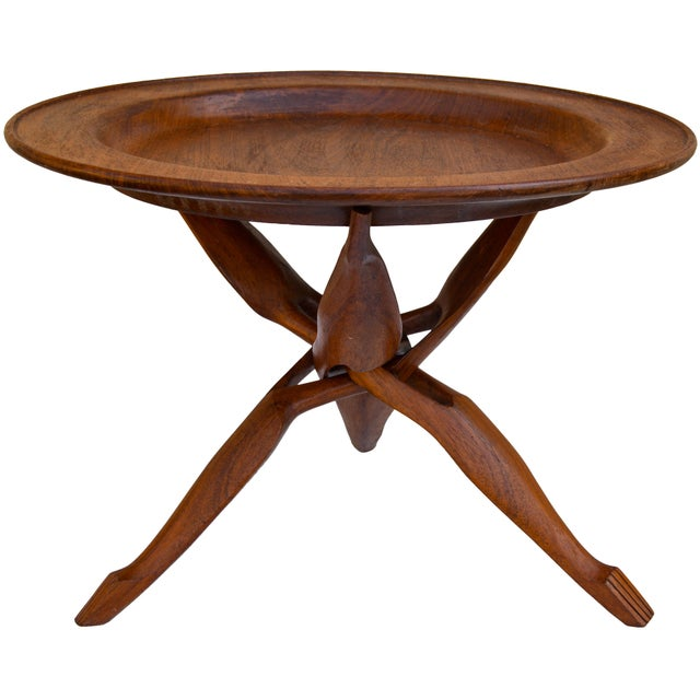 English Handcarved Rosewood Tray-Top Table For Sale - Image 3 of 7