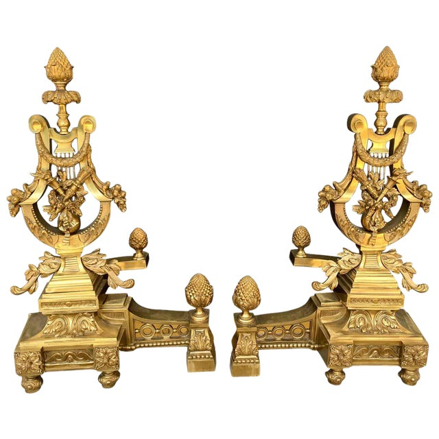 Gorgeous Pair of Louis XVI Style Gilt Bronze Lyre Motif Chenets, Large Scale For Sale