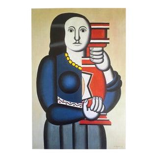 "Fernand Leger Vintage 1999 Cubist Lithograph Calendar Print "" Woman Holding Vase "" 1927 For Sale"