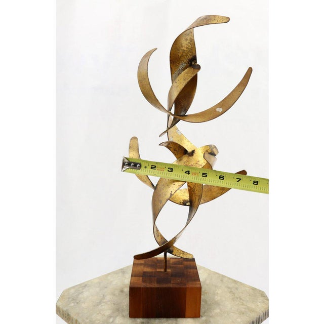 Metal William Bowie Table Top Metal Gold Leaf Sculpture Solid Wood Block Base For Sale - Image 7 of 13
