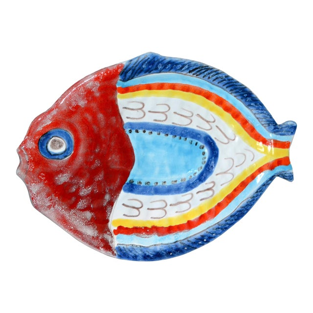 Italian Giovanni Desimone Hand Painted Pottery, Fish Platter, Serving Plate For Sale