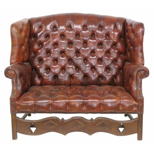 Brown Leather Chesterfield Settee & Carved Skirt - Image 1 of 7