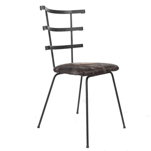 1950s Modernist Iron Side Chair with Cowhide Seat - Image 2 of 7