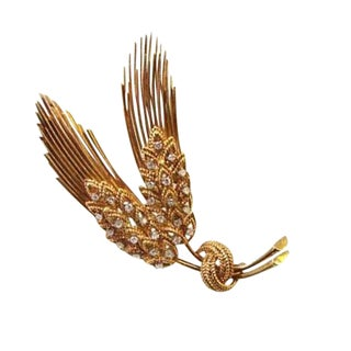 Vintage 18k Gold and Diamond Brooch For Sale