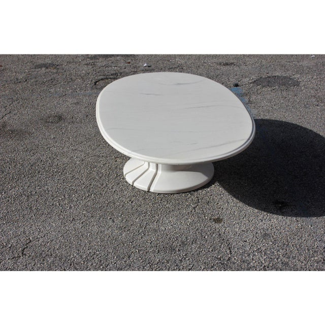 French Modern White Resin Oval Coffee Table For Sale - Image 10 of 13