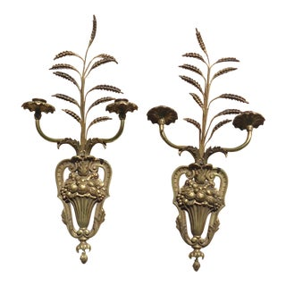 19th Century Rococo Ornate Fruit & Wheat Bronze Ormolu Candle Wall Sconces - a Pair For Sale