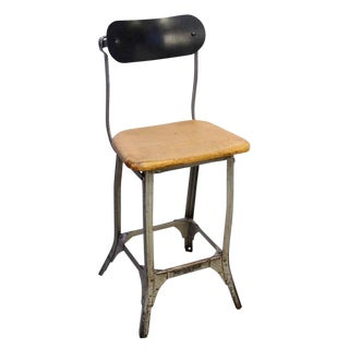 20th Century Industrial Metal & Wood Stool For Sale