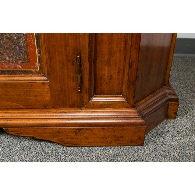 Wood Italian Two Door Credenza With Painted Panels For Sale - Image 7 of 10