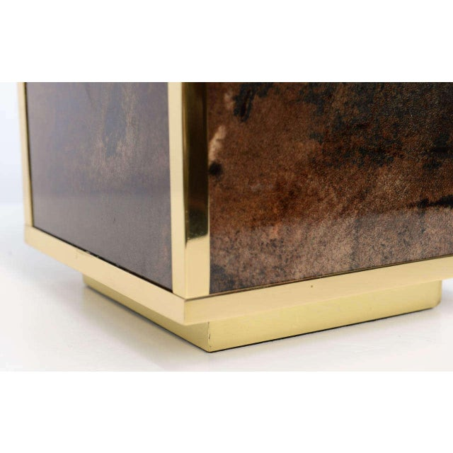 Perfectly restored, this goatskin clad cubed lamp is ready to go!