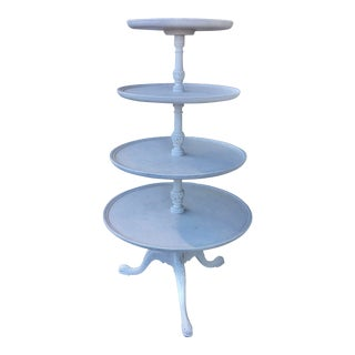 1920s White Tiered Round Display Table For Sale