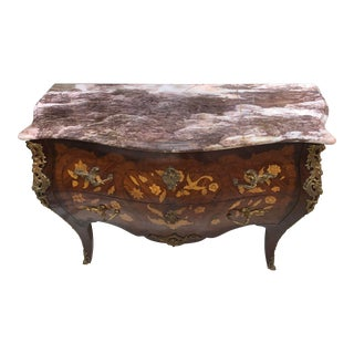 1900s French Bronze & Marble Top Commode Chest Dresser For Sale