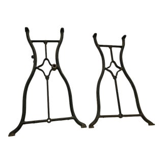 Vintage Industrial Black Iron Sewing Machine Base Legs - A Pair