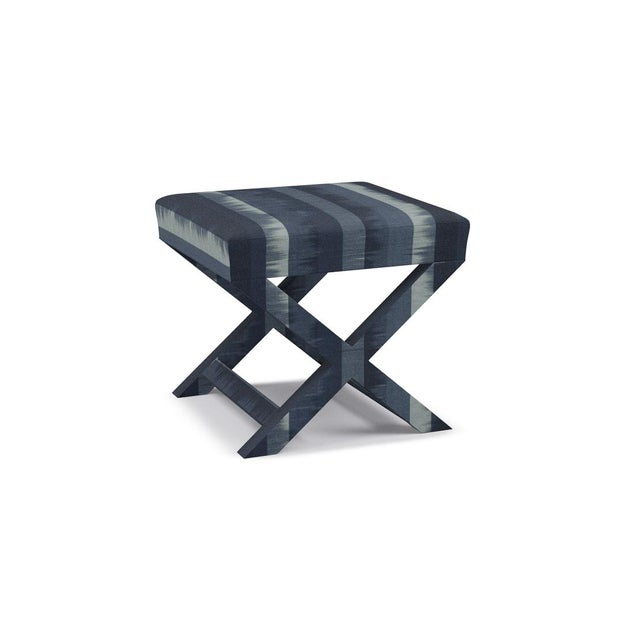 Contemporary X Bench in Indigo Ikat Stripe For Sale - Image 3 of 5