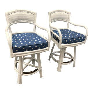 David Francis Indoor Rattan Counter Stools - a Pair For Sale