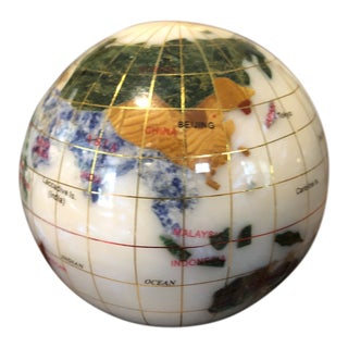 Vintage Mixed Semi Precious Minerals With Inlaid Brass Globe Paperweight For Sale