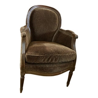 Diminutive Antique Upholstered Bergere Chair