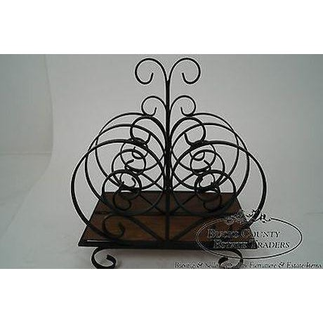1960s Custom Ornate Scrolled Wrought Iron Spanish Style Magazine Stand For Sale - Image 5 of 13