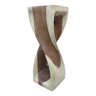 Contemporary Live Edged Acacia Wood Pedestal For Sale