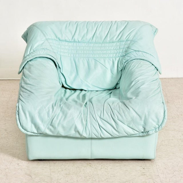 "Italian 1980's Vintage Imbottiti Italian Mint Green Leather ""Wilma"" Lounge Chair For Sale - Image 3 of 10"