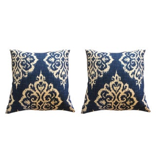 Tangiers Indigo Ikat & Off-White Linen Pillows - a Pair