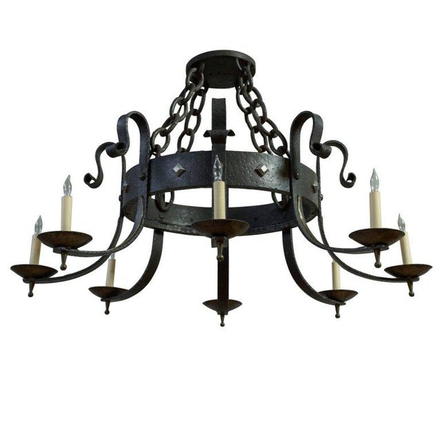 1940's Round Wrought Iron Chandelier with 8 Arms - Image 11 of 11