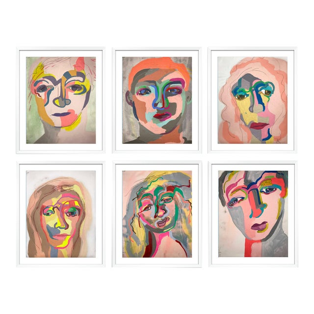 Contemporary Portrait Paintings Abstract Collection - Set of 6 For Sale
