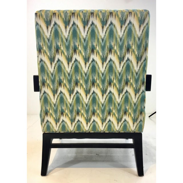 2010s Thomasville Modern Green Herringbone Print Lounge Chair For Sale - Image 5 of 6