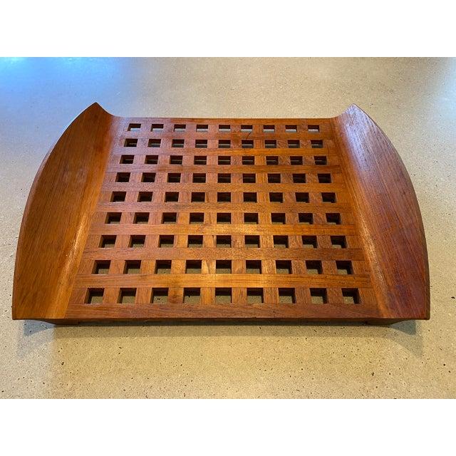 Brown Vintage Jens Quistgaard for Dansk Teak Lattice Tray For Sale - Image 8 of 8