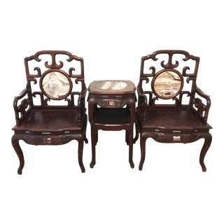 Pair of Late Qing Chinese Arm Chairs & Table Suite, Black Wood and Dali Lake Marble (Hongmu) For Sale