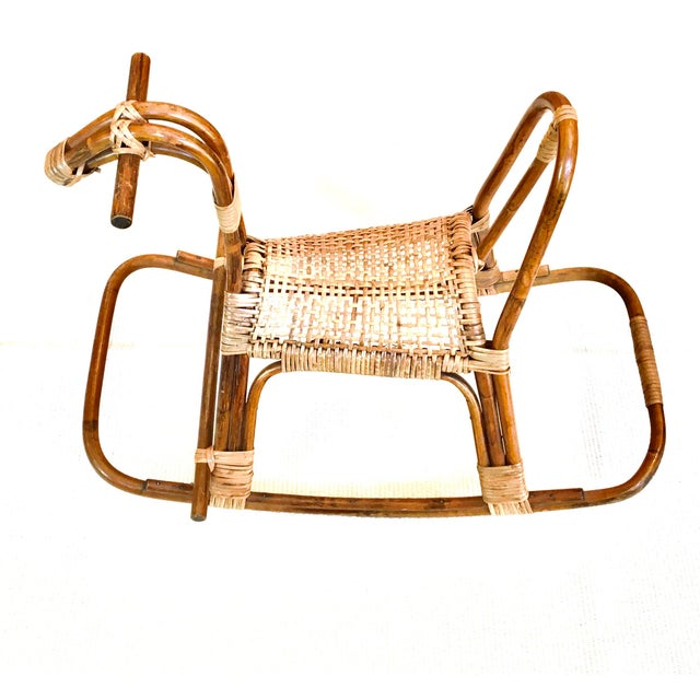 Tan 1970s Vintage Franco Albini Childs Rattan Horse Rocker Rocking Horse For Sale - Image 8 of 8