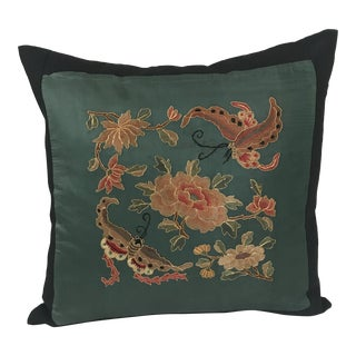 Jade Silk Asian Embroidered Floral Butterfly Kimono Pillow For Sale